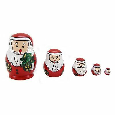 Wooden Nesting Dolls Santa Christmas Design Set of 5 Babushka Dolls