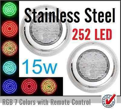 2x New Stainless Steel Swimming Pool Spa Wall Mounted LED Lights RGB 7 Color*