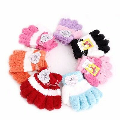 Cute Baby Infant Kid Full Finger Warm Winter Gloves Toddler Knit Rainbow Mittens