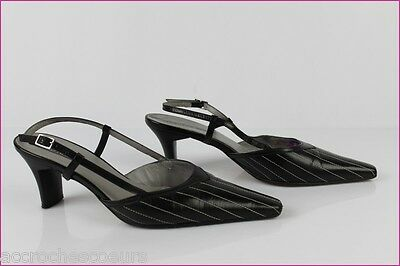 Open Court Shoes PETER KAISER Black Leather Seams White UK 6/39,5