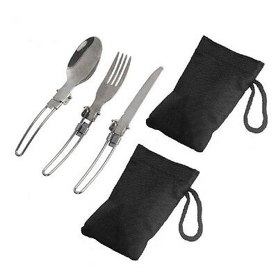 2 Set 3in1 Folding Fork Spoon Tableware Flatware Camping Picnic Stainless Steel