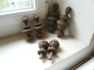 a set of 6 antique French matching hand turned wooden finials