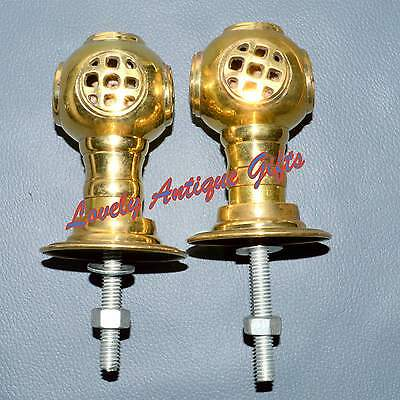 Vintage pair of brass helmet door knobs brass handles • CAD $43.96