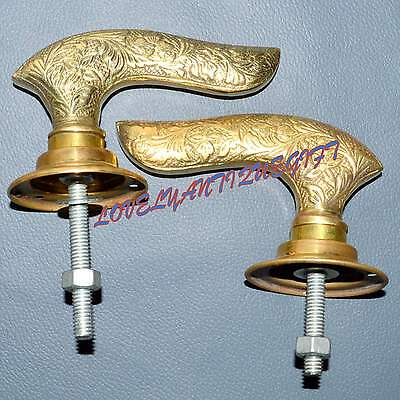 Set of Antique Victorian Gilt Brass Ornate Door Lever Handles Knobs Vintage