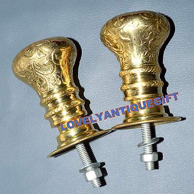 Brass Door Knob Handles Victorian Beehive Style Reeded Old Pair