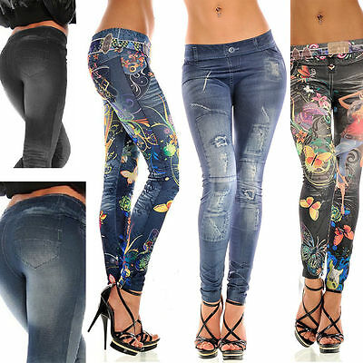 Women Casual Jeans Skinny Stretchy Leggings Pants High Waist Pencil Jeggings