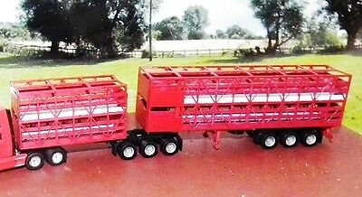 B DOUBLE CATTLE STOCK TRAILER UNITS unpainted laser cut wood Kit  HO 1/87 Scale