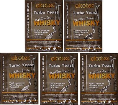 5 x Alcotec Turbohefe WHISKY  Gärhefe Hefe DISTILLERS WHISKY TURBO YEAST