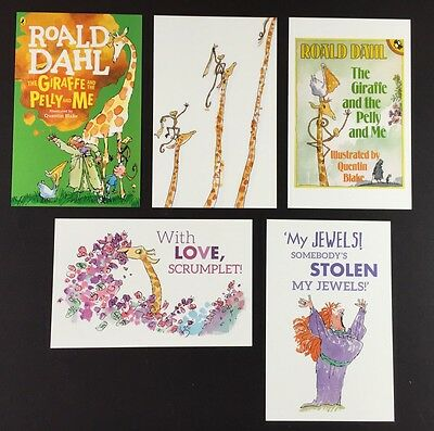 5 x ROALD DAHL POSTCARDS Book Covers THE GIRAFFE & THE PELLY & ME Quentin Blake