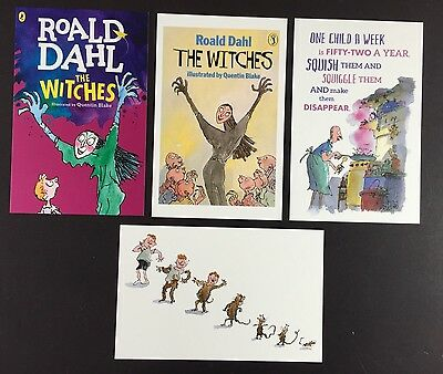 4 x ROALD DAHL POSTCARDS Book Covers THE WITCHES Lot QUENTIN BLAKE Set