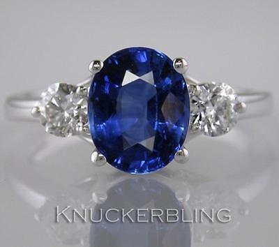 3.55ct Oval Blue Sapphire & Diamond Ring F VS 18ct White Gold Engagement 3-Stone