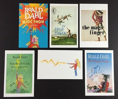 6 x ROALD DAHL POSTCARDS Book Covers THE MAGIC FINGER Lot QUENTIN BLAKE Lot SET