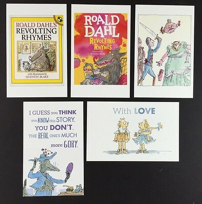 5 x ROALD DAHL POSTCARDS Book Covers REVOLTING RHYMES Lot QUENTIN BLAKE Lot