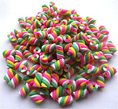 50 Pink White Yellow & Green Small Flump Marshmallow Beads With Clay / Fimo