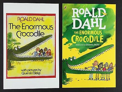 2 x ROALD DAHL POSTCARDS Book Covers THE ENORMOUS CROCODILE Lot QUENTIN BLAKE