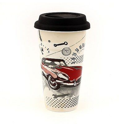 Pit Stop Classic Sports Car Double Walled Ceramic Insulated Travel Mug With Lid