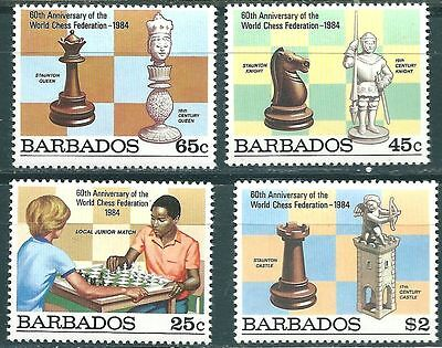 Barbados Chess Schach Eches 1984 4 stamps