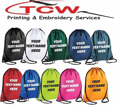 Personalised Drawstring Bag Gym PE Swim School Football Printed Waterproof