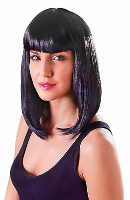 Ladies Shoulder Length Black Wig With Fringe Cheerleader Perry Fancy Dress