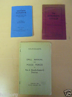 3 X Vintage Police Manuals / Handbook Coroners Drill For Forces South Eastern