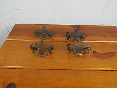 Drawer Pulls Set of 4 Antique Brass Salvage Restoration Very Ornate