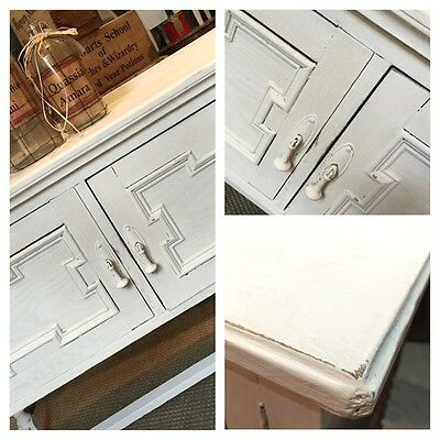 Vintage Painted Hutch Cabinet Cupboard Shabby Chic Furniture