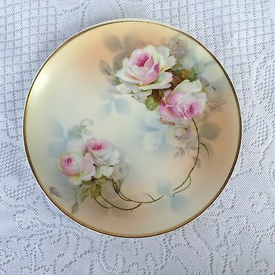Stunning PSAG Bavaria Pink Roses Porcelein Hand Painted Signed Dish  (389)