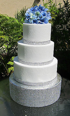 wedding cake riser cake stand risers rhinestone ribbon set of three 163 8 00 8732