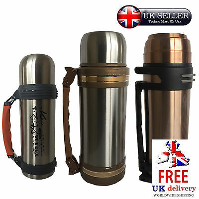 Vacuum Flask Stainless Steel Thermos 1L & 2L Hot Drinks Soup Mother Xmax Gift