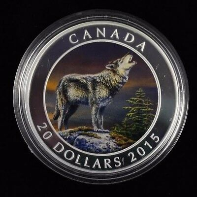 2015 $20 Fine silver coin The Wolf CAO and Box not sale taxe