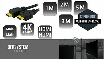 Cavo Hdmi Hd 4K Ready Per Tv Streaming Pc Nero Scegli Tra 1 2 3 5 Metri Black