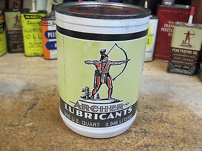 Nos Archer 1Qt Motor Oil Can Chief Aircraft Lubricant Plastic 1960's Rare Full