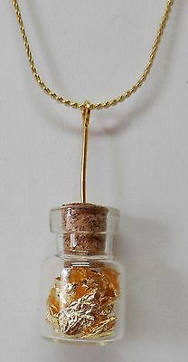 24 inch Gold Chain of GOLD leaf flakes in ¾ X ½ inch glass vial sealed with cork