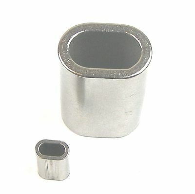 100pc Set Stainless Steel Crimping Sleeves for 1/8 Wire Rope Cable-Oval/Chamfer