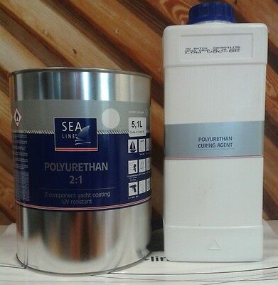 Polyurethane topcoat yacht paint two pack WHITE 5,1L  RAL9010 2:1 marine boat