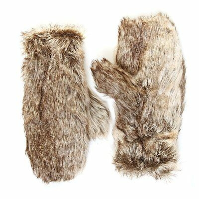 New Ladies Womens Girls Faux Fur Furry Mitts Mittens Gloves Animal