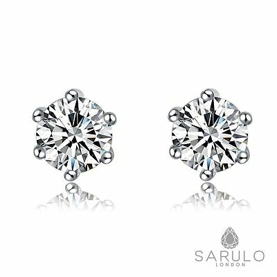 Classic White Stud Earrings Sarulo 925 Solid Sterling Silver New Gift Box Hot