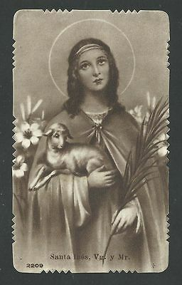 estampa antigua de Santa Ines santino holy card image pieuse