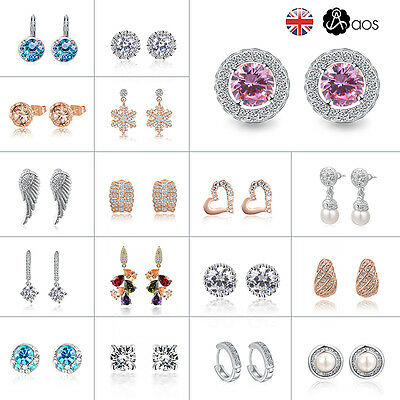 Fashion Women Luxury Crystal Rhinestone Ear Stud Earrings Dangle Jewelry Gift