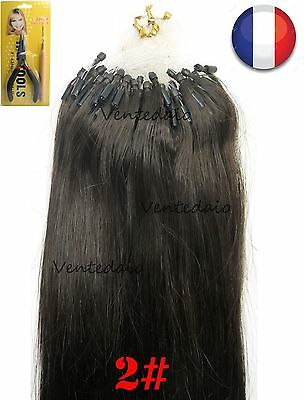 50-200 Extensions Cheveux Pose A Froid Easy Loop Naturel 53-60Cm Chatain Fonce2#