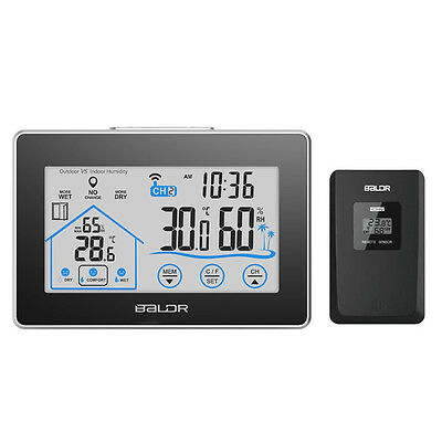 Baldr Wireless Weather Station Indoor Outdoor Touch Screen Thermometer Humidity