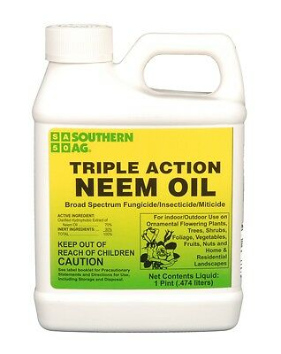 Triple Action Neem Oil -  Indoor / Outdoor, Fungicide, Insectiside, Miti - 16 oz