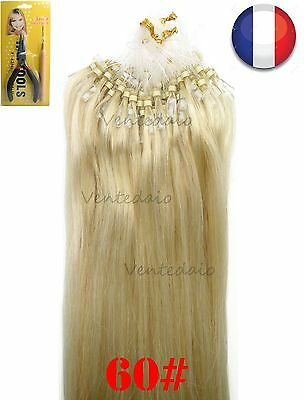 50-200 Extensions Cheveux Pose A Froid Easy Loop Naturels 53-60Cm Blond Platine