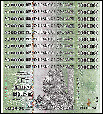 Zimbabwe 50 Trillion Dollars X 10 Pieces (PCS), AA/2008,Circulated,Used,Trillion