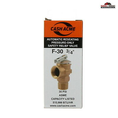 "Pressure Safety Relief Valve F-30 3/4"" Automatic Reseating ~ New"
