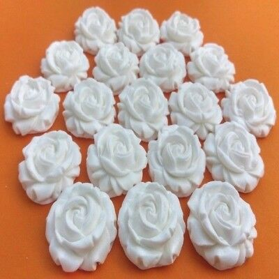20 edible sugar roses flowers cake cupcake toppers (AIRBRUSHED) White