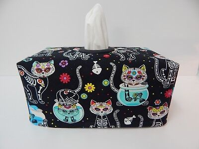 Cadavera Cats on Black Tissue Box Cover With Circle Opening - Lovely Gift Idea