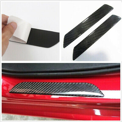2pcs Carbon Fiber Door Scuff Plate Sill Cover Panel Step Protector Guard 26CM