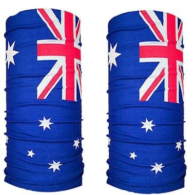 2 Australian Flag Bandana Face Tube Australia Day Cricket Aussie Head Uv Shield
