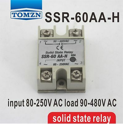 SSR 60AA-H High voltage type input 80-250V AC load 90-480V AC solid state relay